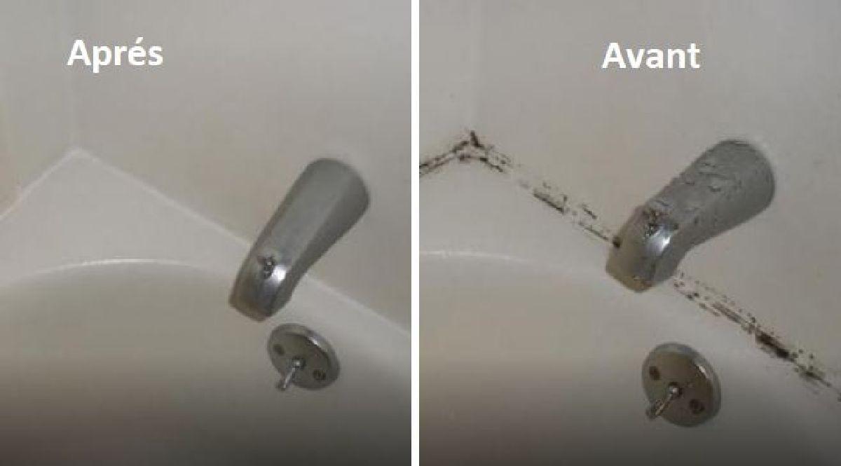une astuce magique pour enlever la moisissure sur les joints de baignoire. Black Bedroom Furniture Sets. Home Design Ideas