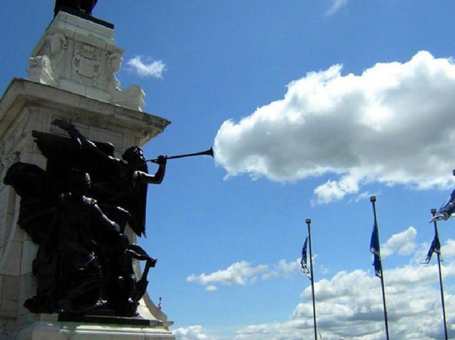 statue cloud perfect timing